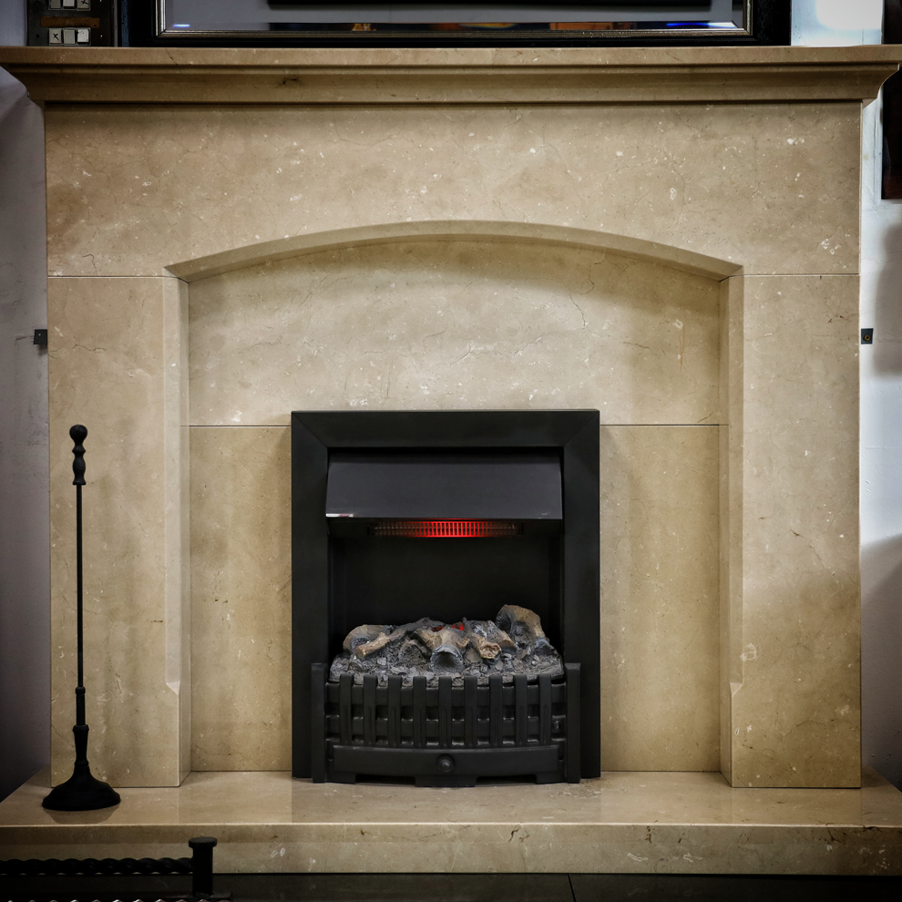 The Foundry Creme Marfil Natural Marble Fireplace
