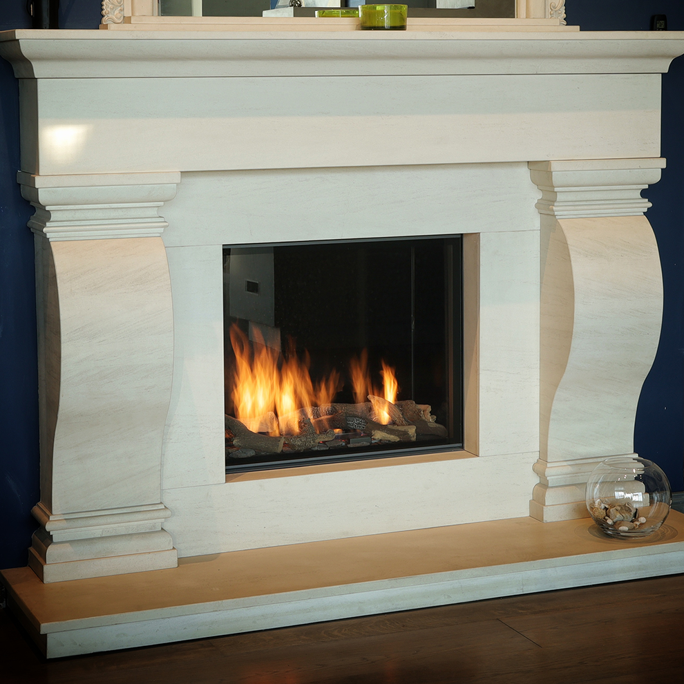 The Finn Natural Limestone Fireplace
